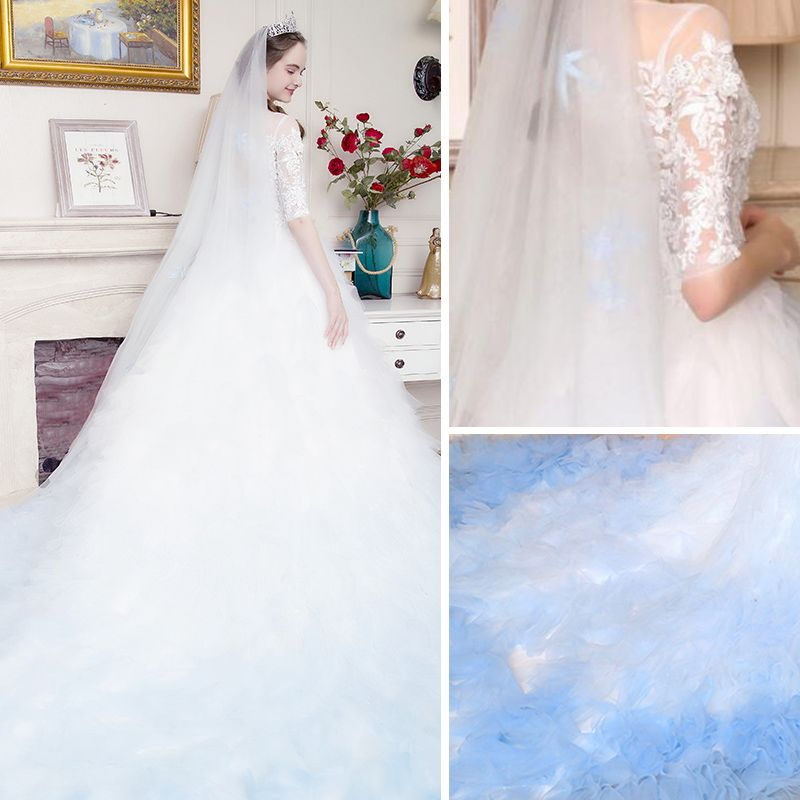 Stunning White Gradient-Color Sky Blue Pierced Wedding Dresses 2017 Ball Gown Scoop Neck 3/4 Sleeve Appliques Lace Cathedral Train
