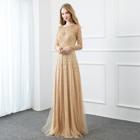 High-end Gold Handmade  Evening Dresses  2020 A-Line / Princess Scoop Neck Beading Pearl Sequins Long Sleeve Floor-Length / Long Formal Dresses