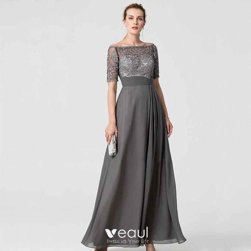Schone Grau Brautmutterkleider 2020 A Linie Lange Kurze Armel Applikationen Stickerei Strass Bandeau Abend Hochzeit Kleider