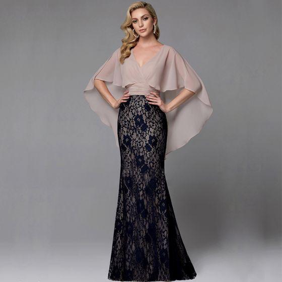 Mode Sexy Schwarz Abendkleider 2020 Meerjungfrau V-Ausschnitt Ärmellos Mit Schal Rückenfreies Stickerei Watteau-falte Cocktail Abend Festliche Kleider
