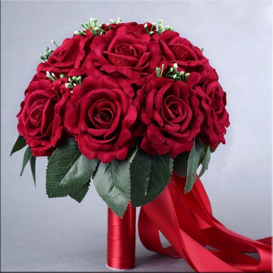 Classique Élégant Bordeaux Bouquet De Mariée 2020 Fleur Tissu La Mariée Mariage Promo Accessorize