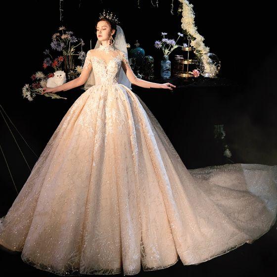Fabuloso Champán Transparentes Vestidos De Novia 2019 Ball Gown Cuello Alto 3/4 Ærmer Sin Espalda Apliques Con Encaje Rebordear Glitter Tul Cathedral Train Ruffle