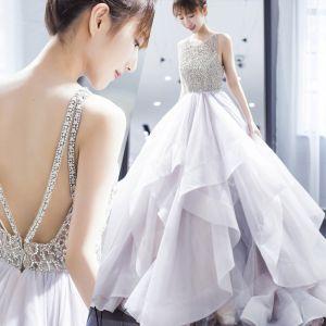 Sexy Weiß Brautkleider / Hochzeitskleider 2019 Ballkleid Spaghettiträger Strass Ärmellos Rückenfreies Fallende Rüsche Lange