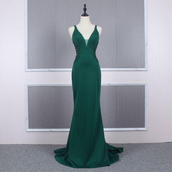 Rimelig Mørk Grønn Selskapskjoler 2020 Trompet / Havfrue Skuldre Uten Ermer Beading Domstol Tog Buste Ryggløse Formelle Kjoler