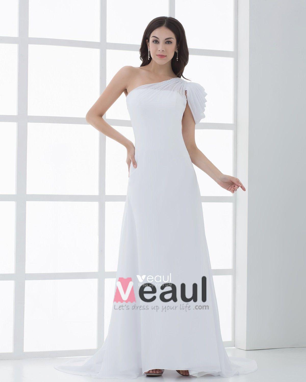 Chiffon Ruffle Beading One Shoulder Floor Length Sheath Wedding Dresses