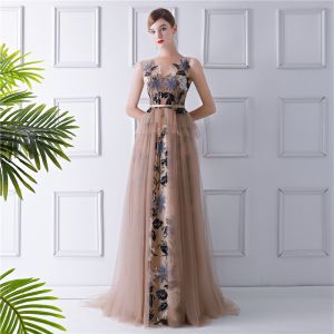 Charming Brown See-through Evening Dresses  2019 A-Line / Princess Scoop Neck Sleeveless Embroidered Sash Sweep Train Ruffle Formal Dresses