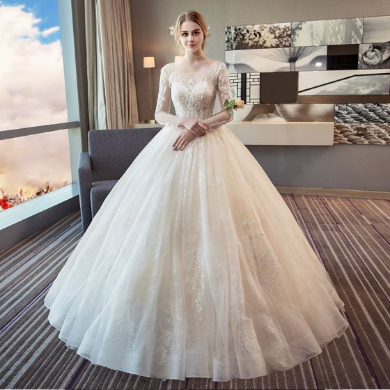 Elegant Ivory Wedding Dresses 2018 Ball Gown Scoop Neck Long Sleeve Backless Appliques Pierced Lace Floor-Length / Long Ruffle
