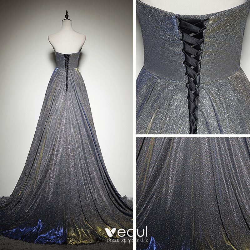 Bling Bling Silver Evening Dresses  2019 A-Line / Princess Sweetheart Sleeveless Glitter Polyester Sweep Train Ruffle Backless Formal Dresses