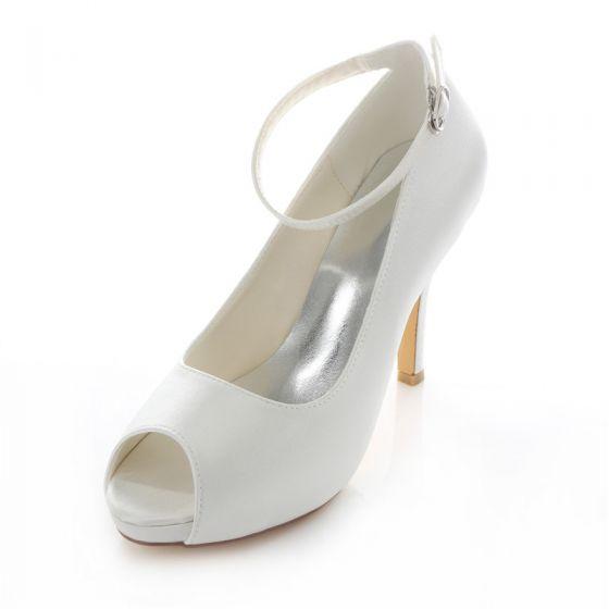 Elegant Satin Wedding Shoes White Stiletto Heels Pumps 4 Inch High Heel Peep Toe