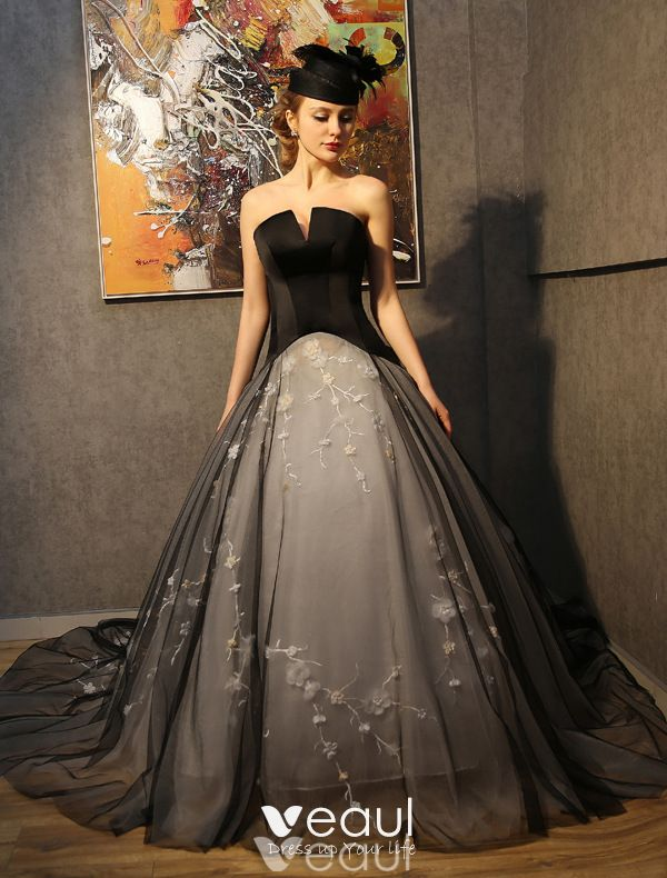 Prom Dresses 2016 Strapless Black Tulle