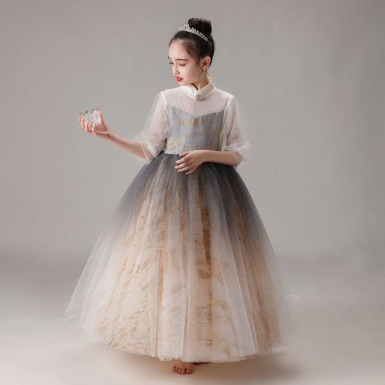 Vintage / Retro Champagne Gradient-Color Birthday Flower Girl Dresses 2020 Ball Gown High Neck Puffy 1/2 Sleeves Glitter Tulle Floor-Length / Long Ruffle