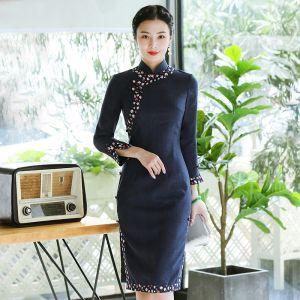 Vintage / Retro Navy Blue Cheongsam / Qipao 2020 High Neck Long Sleeve Printing Flower Polyester Tea-length Formal Dresses
