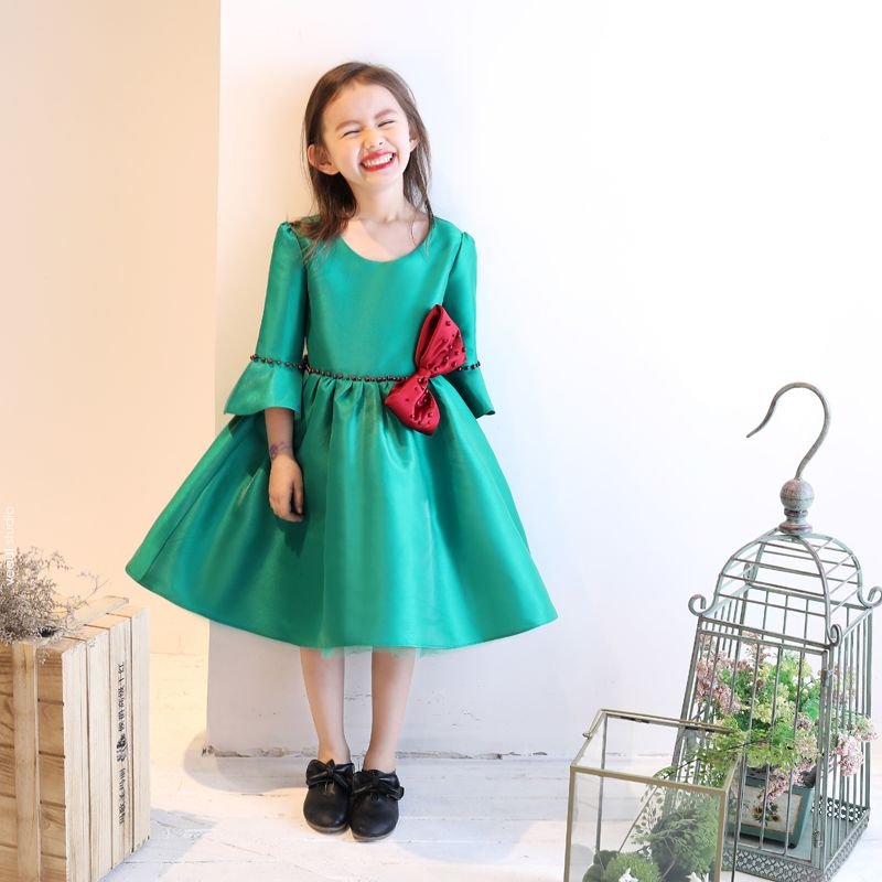 Chic / Beautiful Church Wedding Party Dresses 2017 Flower Girl Dresses Green Ball Gown Tea-length Scoop Neck 3/4 Sleeve Pearl Bow