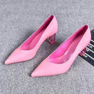Heerlijk Candy Roze Toevallig Pumps 2019 Leer 7 cm Naaldhakken / Stiletto Spitse Neus Pumps