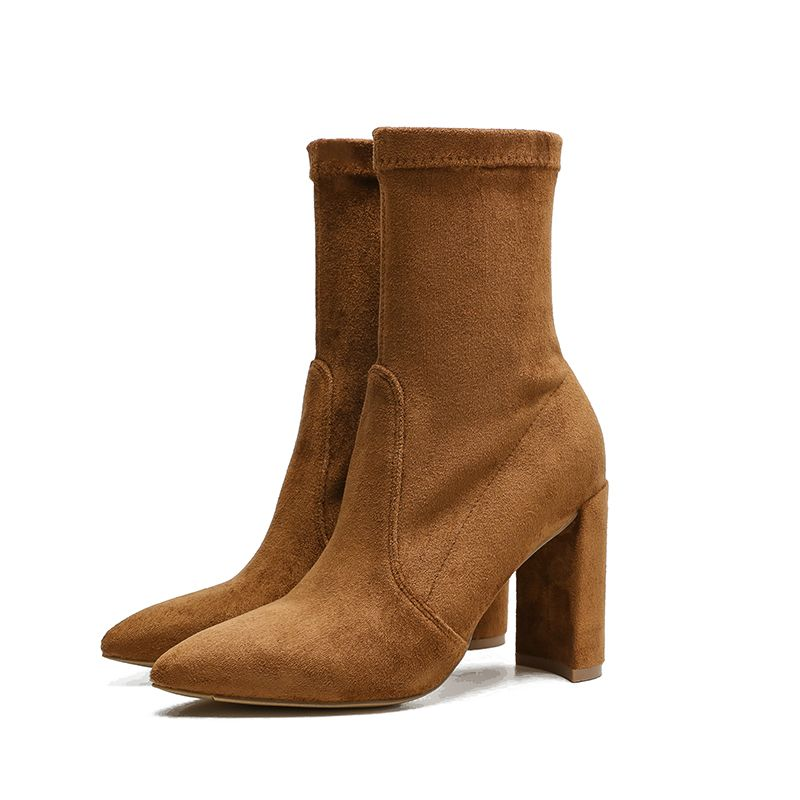 Wysokiej Klasy Beżowe Zima Zużycie ulicy Skórzany Buty Damskie 2020 Zamszowe 9 cm Grubym Obcasie Szpiczaste Boots