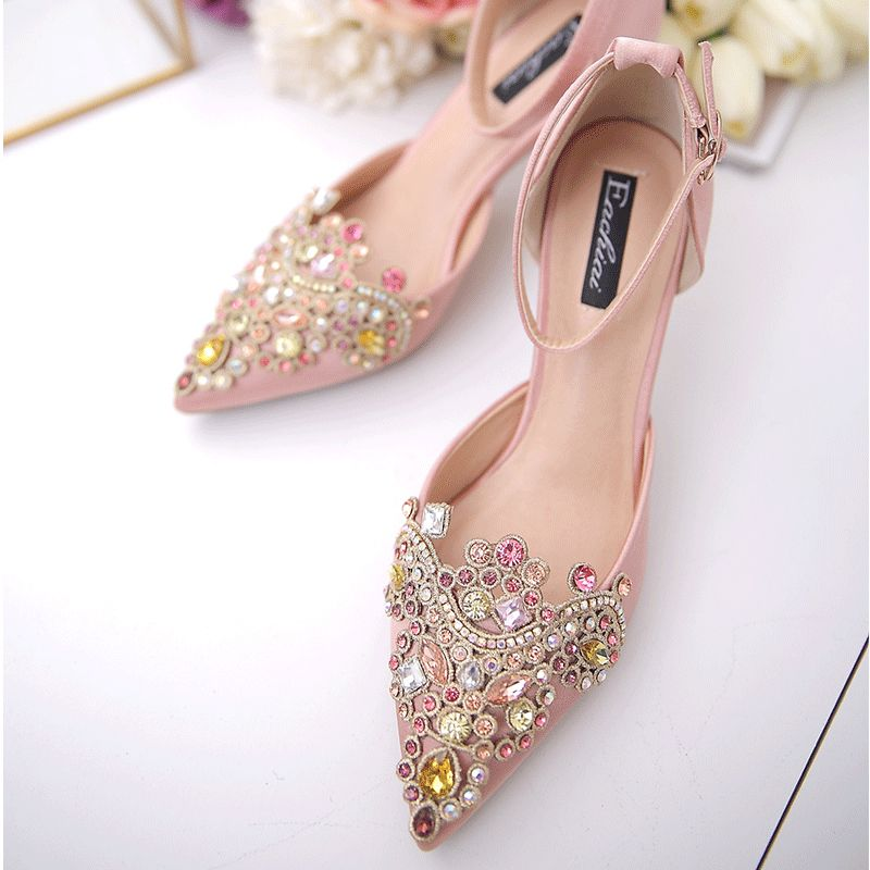 Chic / Beautiful Champagne Wedding Shoes 2017 Beading Pointed Toe Stiletto Heels Satin 7 cm High Heels