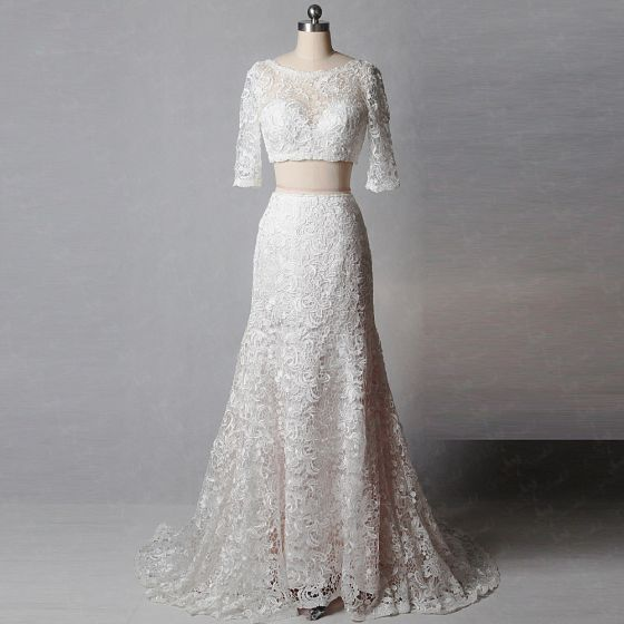 2 Piece Classic Elegant Ivory Court Train Wedding 2018 Trumpet / Mermaid U-Neck Lace-up Appliques Backless Embroidered Wedding Dresses