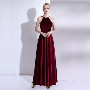 Hermoso Rojo Vestidos de noche 2017 A-Line / Princess Cuello Alto Sin Espalda Rebordear Rhinestone Noche Vestidos Formales