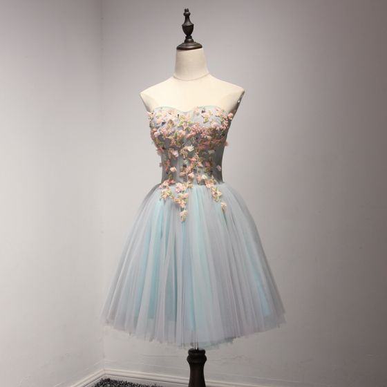 Chic / Beautiful Sky Blue Party Dresses 2017 Ball Gown Sweetheart Sleeveless Appliques Flower Beading Crystal Short Ruffle Backless Formal Dresses