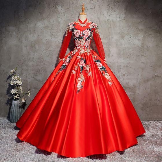 Style Chinois Rouge Robe De Bal 2017 Robe Boule Col Haut Manches Longues Appliques En Dentelle Perlage Perle Longue Dos Nu Robe De Ceremonie