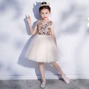 Fashion Champagne Birthday Flower Girl Dresses 2020 Ball Gown V-Neck Sleeveless Backless Sequins Short Ruffle