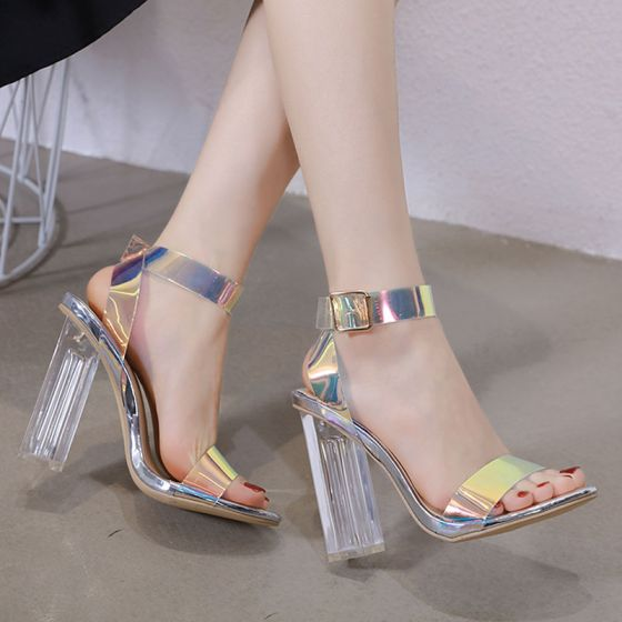 Sexy Silver Evening Party Crystal Womens Sandals 2020 Ankle Strap 12 cm Thick Heels Open / Peep Toe Sandals
