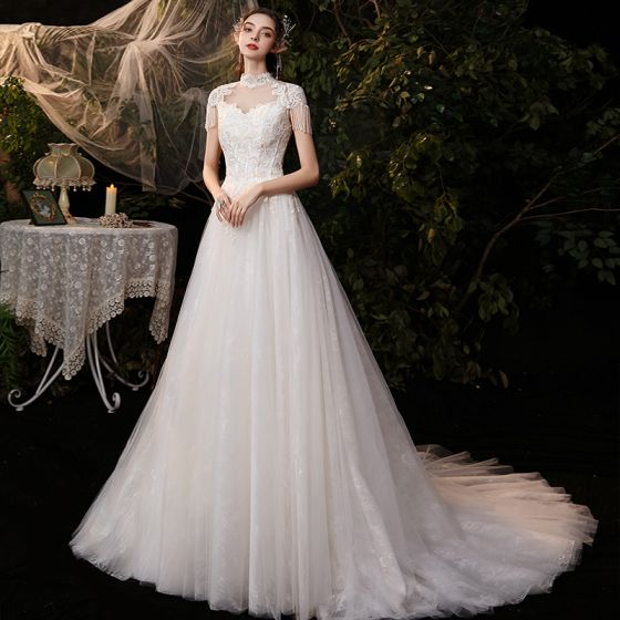 Affordable Champagne Outdoor / Garden Wedding Dresses 2020 A-Line / Princess See-through High Neck Sleeveless Backless Lace Appliques Beading Tassel Sweep Train Ruffle