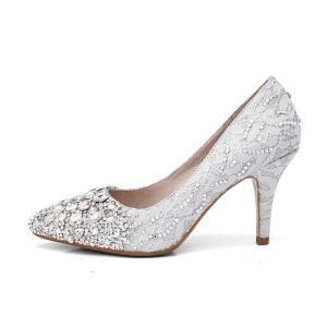 Luxury / Gorgeous Ivory Lace Wedding Shoes 2018 8 cm Stiletto Heels Pointed Toe Rhinestone Womens Shoes