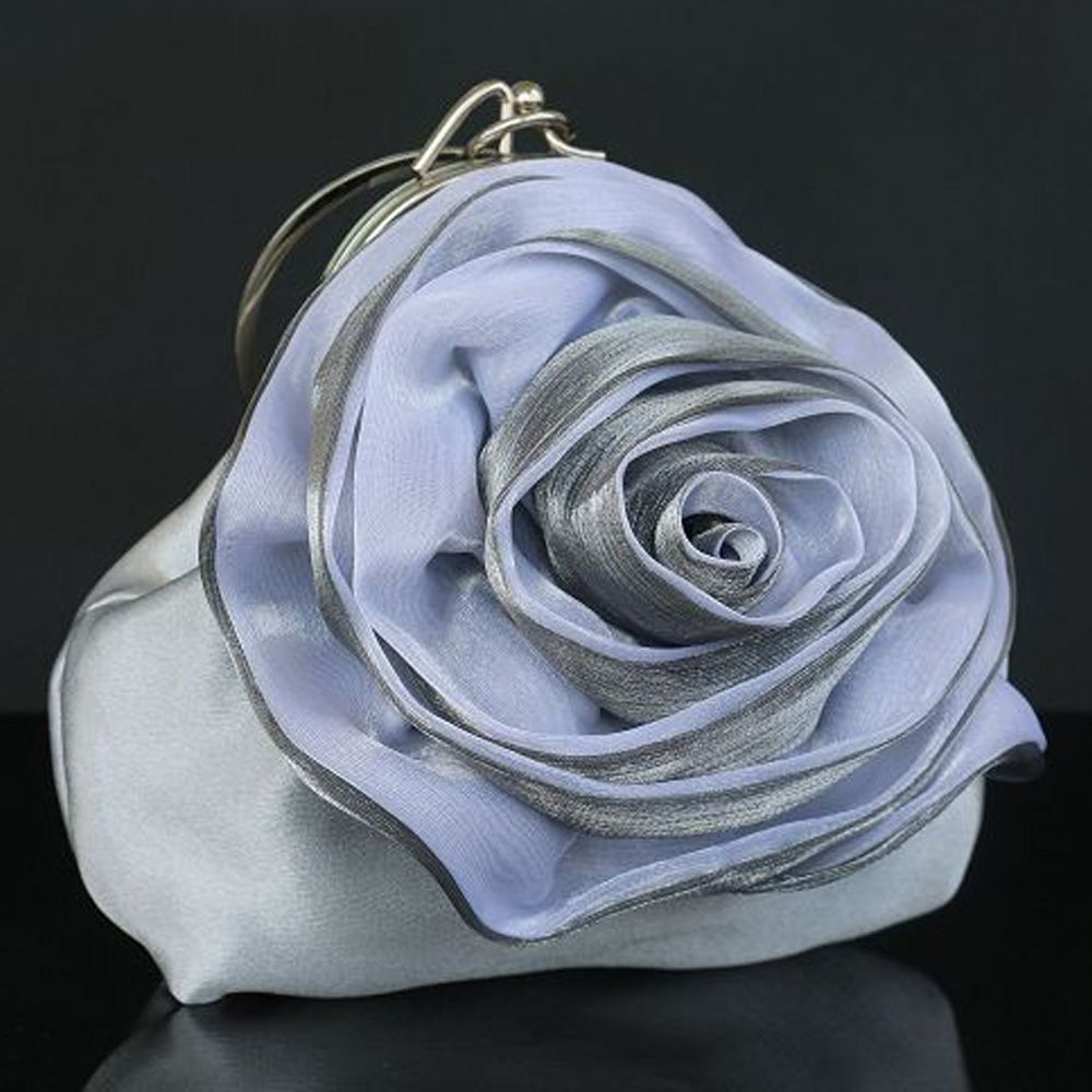 Flower Fairy Silver Clutch Bags Flower Rhinestone Velour Wedding Cocktail Party Evening Party 2019 Accessories