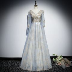 Chic / Beautiful Sky Blue Evening Dresses  2019 A-Line / Princess V-Neck 3/4 Sleeve Appliques Sequins Glitter Tulle Floor-Length / Long Ruffle Backless Formal Dresses