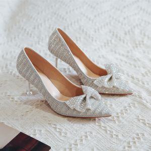 Charming Silver Crystal Wedding Shoes 2020 Rhinestone Bow 8 cm Stiletto Heels Pointed Toe Wedding Pumps