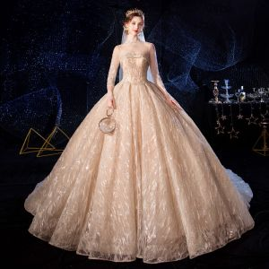 Luxury / Gorgeous Champagne See-through Wedding Dresses 2020 Ball Gown High Neck 3/4 Sleeve Backless Glitter Appliques Lace Handmade  Beading Royal Train Ruffle