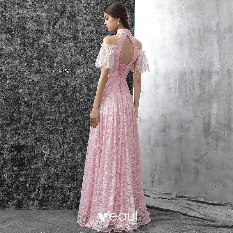 Vintage Rosa Abendkleider 2017 A Linie Stehkragen Kurze Armel Bandeau Lange Ruschen Ruckenfreies Festliche Kleider