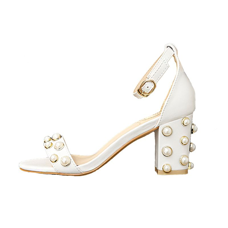 Modern / Fashion White Casual Office Beading Pearl Womens Sandals 2018
