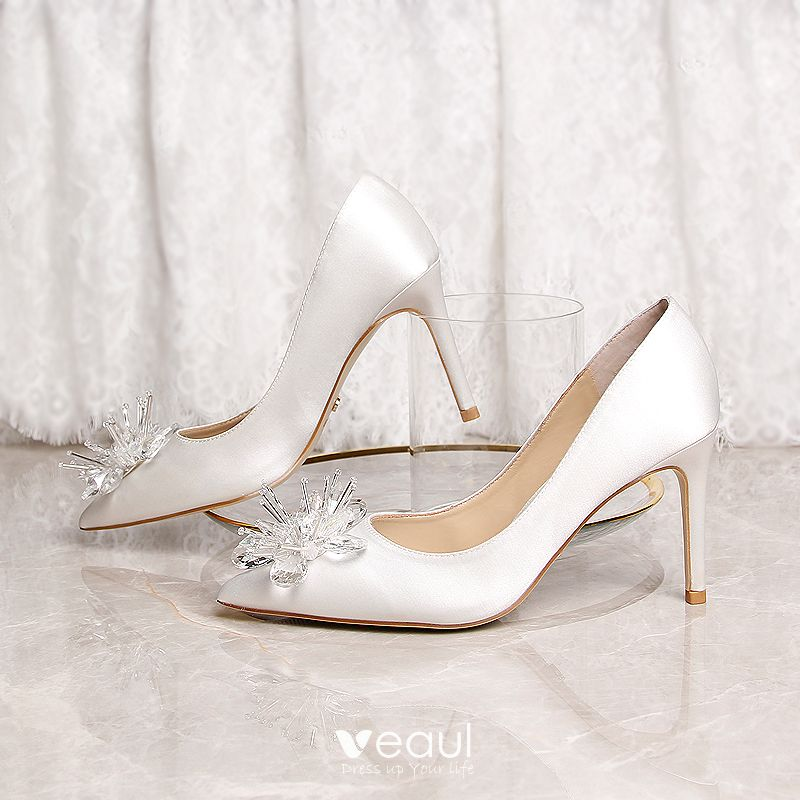 Chic / Beautiful Ivory Wedding Shoes 2019 Leather Crystal 9 cm Stiletto Heels Pointed Toe Wedding Pumps