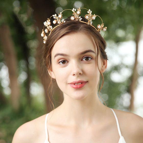 Schöne Gold Diadem Haarschmuck Braut  2020 Legierung Strass Perlenstickerei Brautaccessoires