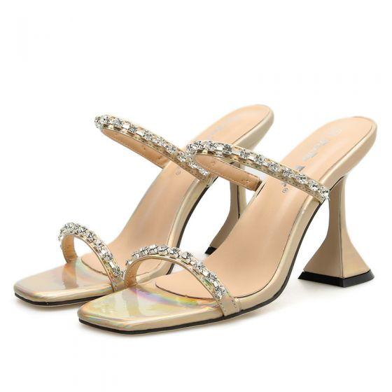 Rimelig Gull Casual Sandaler Dame 2020 Rhinestone 9 cm Stiletthæler Peep Toe Sandaler
