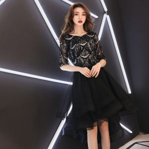 High Low Black Homecoming Graduation Dresses 2019 A-Line / Princess Scoop Neck 1/2 Sleeves Sequins Tassel Asymmetrical Ruffle Formal Dresses