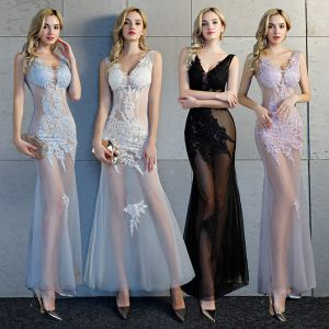 Sexy Transparentes Robe De Soirée 2019 Trompette / Sirène Col v profond Sans Manches Appliques En Dentelle Longueur Cheville Dos Nu Robe De Ceremonie