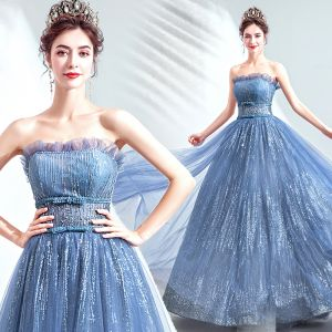 Charming Ocean Blue Evening Dresses  2020 A-Line / Princess Strapless Beading Sequins Bow Sleeveless Backless Floor-Length / Long Formal Dresses