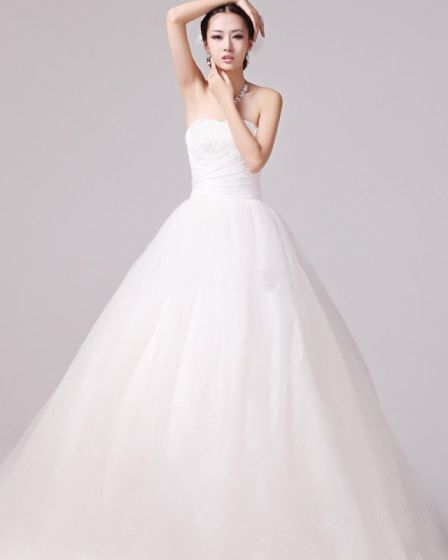 Glaring Ruffles Beading Sweetheart Satin A Line Wedding Dress