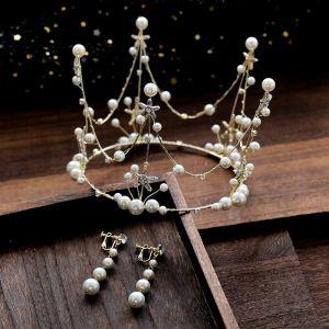 Schöne Gold Brautschmuck 2019 Legierung Perle Strass Diadem Ohrringe Hochzeit Brautaccessoires