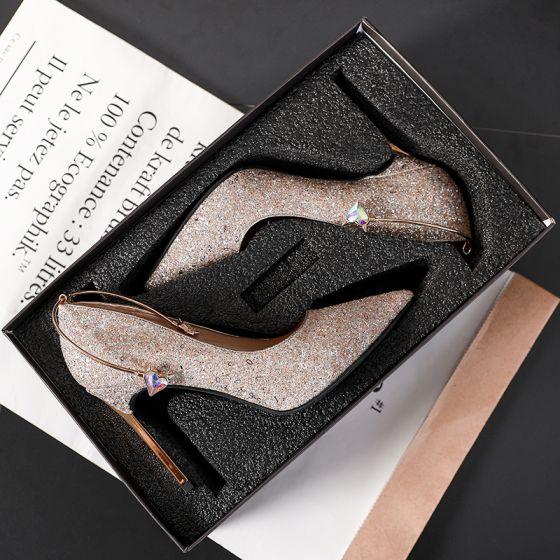 Charmant Doré Chaussure De Mariée 2019 Paillettes 9 cm Talons Aiguilles À Bout Pointu Mariage Escarpins