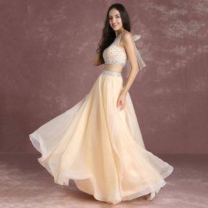 Bling Bling 2 Pièces Nude Robe De Bal 2017 Princesse Encolure Dégagée Sans Manches Volants Organza Perlage Paillettes Longue Robe De Ceremonie
