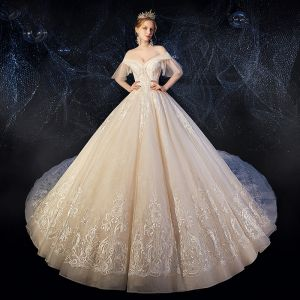 Best Champagne Wedding Dresses 2019 Ball Gown Off-The-Shoulder Short Sleeve Bell sleeves Backless Appliques Lace Beading Cathedral Train Ruffle
