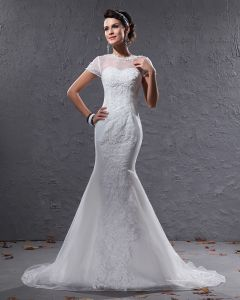 Elegant Organza Applique Beaded Jewel Floor Length Court Train Mermaid Wedding Dress