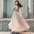 Affordable Chocolate Evening Dresses  2019 A-Line / Princess Off-The-Shoulder Short Sleeve Appliques Lace Bow Sash Floor-Length / Long Ruffle Backless Formal Dresses