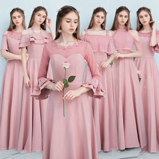Affordable Candy Pink Bridesmaid Dresses 2019 A-Line / Princess Sash Appliques Flower Floor-Length / Long Ruffle Backless Wedding Party Dresses