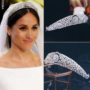 Luxus / Herrlich Silber Kopfschmuck Hochzeit Brautaccessoires 2019 Legierung Zirkon Haarschmuck Braut