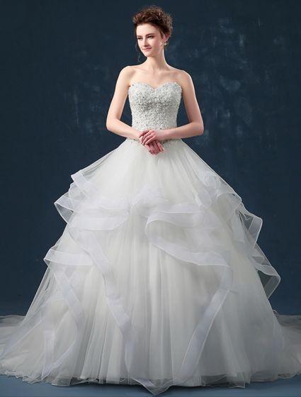 Tylko na zewnątrz Suknia Balowa Falbany Kochanie Linkę Rhinestone Suknia Ślubna LE94